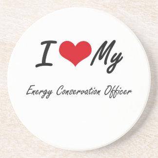 Amo a mi oficial del ahorro de energía posavasos personalizados