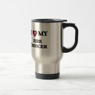 Amo a mi oficial del fuego taza de viaje