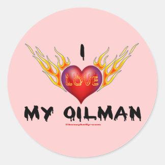 Amo a mi Oilman, corazón ardiente, esposa del Pegatinas Redondas