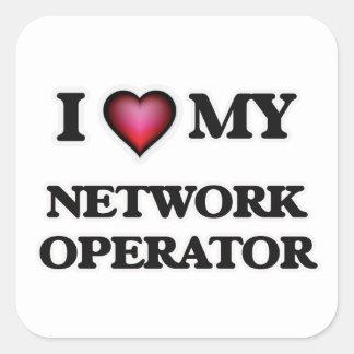 Amo a mi operador de red pegatina cuadrada