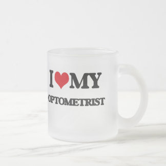 Amo a mi optometrista taza de café esmerilada