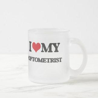 Amo a mi optometrista taza de cristal
