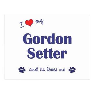 Amo a mi organismo de Gordon (el perro masculino) Postal