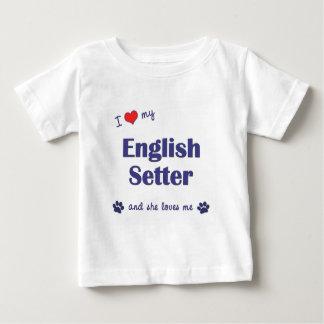 Amo a mi organismo inglés (el perro femenino) playera de bebé