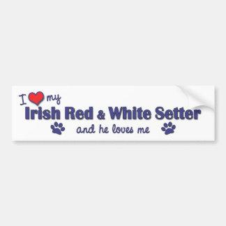Amo a mi organismo rojo y blanco irlandés (el perr pegatina para auto
