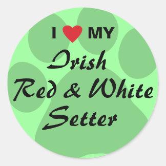Amo a mi organismo rojo y blanco irlandés pegatina redonda