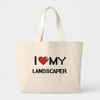Amo a mi paisajista bolsa tela grande