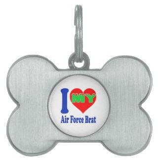 Amo a mi palo de golf de la fuerza aérea placas de nombre de mascota
