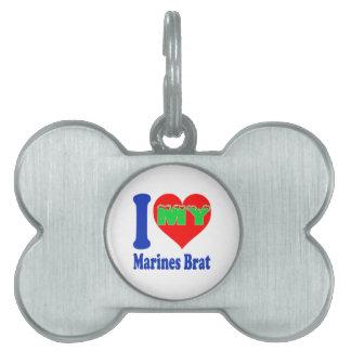 Amo a mi palo de golf de los infantes de marina placas de nombre de mascota