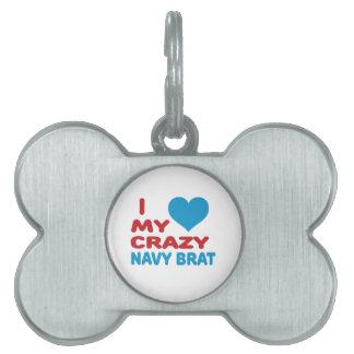 Amo a mi palo de golf loco de la marina de guerra placa de nombre de mascota