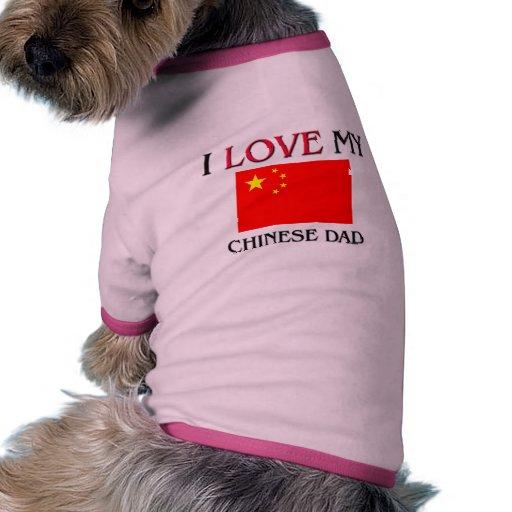 Amo a mi papá chino camiseta con mangas para perro