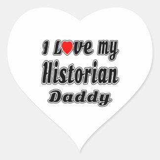 Amo a mi papá del historiador pegatina en forma de corazón