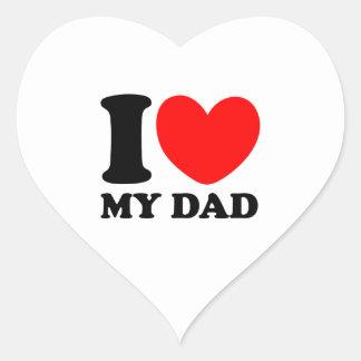 Amo a mi papá pegatina en forma de corazón