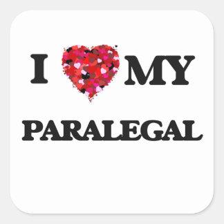 Amo a mi Paralegal Pegatina Cuadrada
