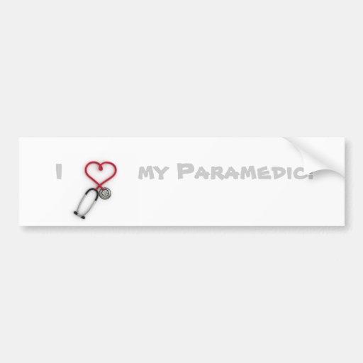 Amo a mi paramédico etiqueta de parachoque