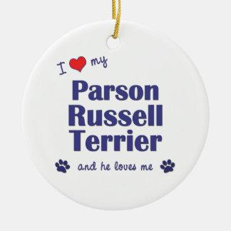 Amo a mi párroco Russell Terrier (el perro Ornamento Para Arbol De Navidad