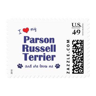 Amo a mi párroco Russell Terrier (el perro Franqueo