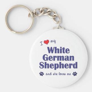Amo a mi pastor alemán blanco (el perro femenino) llavero redondo tipo pin