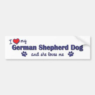 Amo a mi pastor alemán (el perro femenino) pegatina para auto