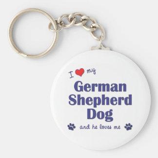 Amo a mi pastor alemán (el perro masculino) llavero redondo tipo pin