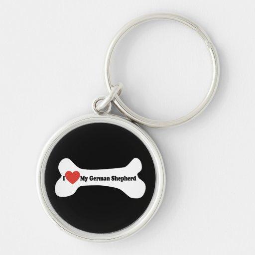 Amo a mi pastor alemán - hueso de perro llavero redondo plateado