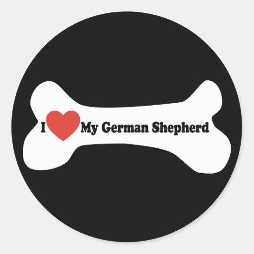 Amo a mi pastor alemán - hueso de perro etiquetas