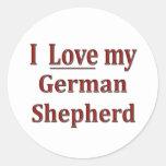 Amo a mi pastor alemán pegatina redonda