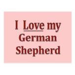Amo a mi pastor alemán tarjetas postales