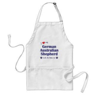 Amo a mi pastor australiano alemán (el perro femen delantal