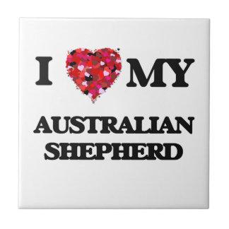 Amo a mi pastor australiano azulejo cuadrado pequeño