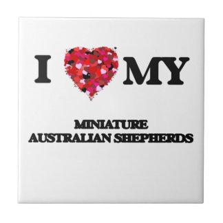 Amo a mi pastor australiano miniatura azulejo cuadrado pequeño