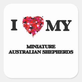 Amo a mi pastor australiano miniatura pegatina cuadrada