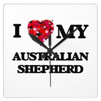 Amo a mi pastor australiano reloj cuadrado