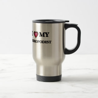 Amo a mi pedicuro taza de viaje