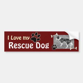 Amo a mi pegatina de DogBumper del rescate Pegatina De Parachoque