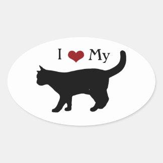 Amo a mi pegatina del óvalo del gato
