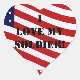 Amo a mi pegatina del soldado