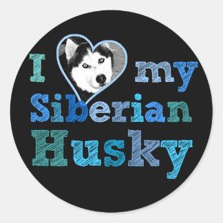 Amo a mi pegatina grande del husky siberiano