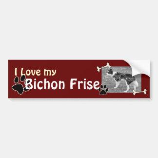 Amo a mi pegatina para el parachoques de Bichon Fr Pegatina Para Auto