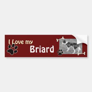 Amo a mi pegatina para el parachoques de Briard Pegatina Para Auto