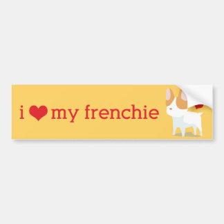 Amo a mi pegatina para el parachoques de Frenchie Pegatina Para Auto