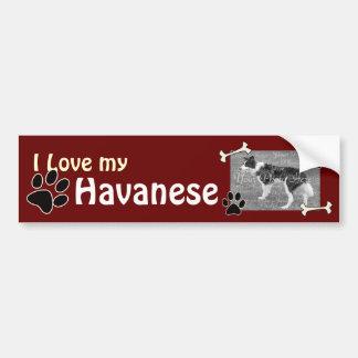 Amo a mi pegatina para el parachoques de Havanese Etiqueta De Parachoque
