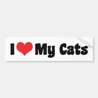 Amo a mi pegatina para el parachoques de los gatos pegatina para auto