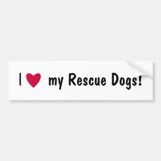 Amo a mi pegatina para el parachoques de los perro pegatina para auto