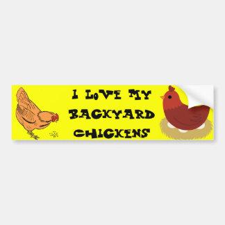 Amo a mi pegatina para el parachoques de los pollo pegatina para auto