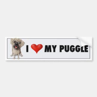 Amo a mi pegatina para el parachoques de Puggle 2 Pegatina Para Auto