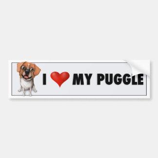 Amo a mi pegatina para el parachoques de Puggle Pegatina Para Auto