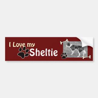 Amo a mi pegatina para el parachoques de Sheltie Pegatina Para Auto