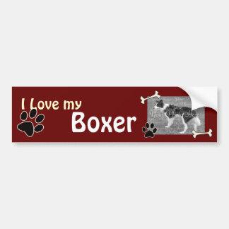 Amo a mi pegatina para el parachoques del boxeador pegatina para auto