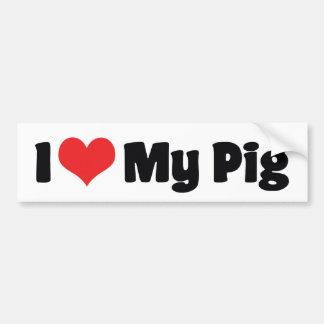 Amo a mi pegatina para el parachoques del cerdo pegatina para auto